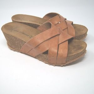 Anna Fidanza Leather Cork Wedges Tan
